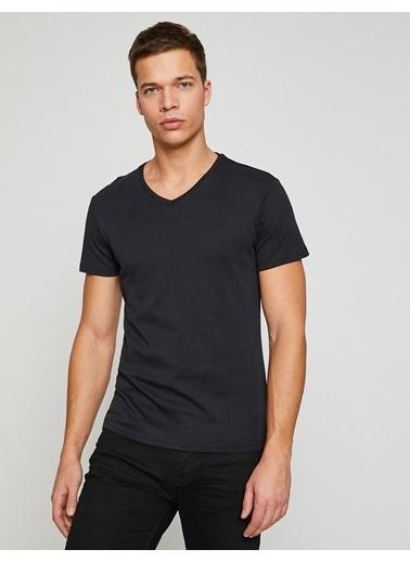 Koton Slim Fit V Yaka Tişört Siyah